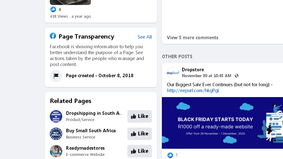Show what Facebook ads other websites are currently running